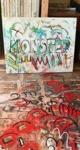 even the floor of his studio is painted