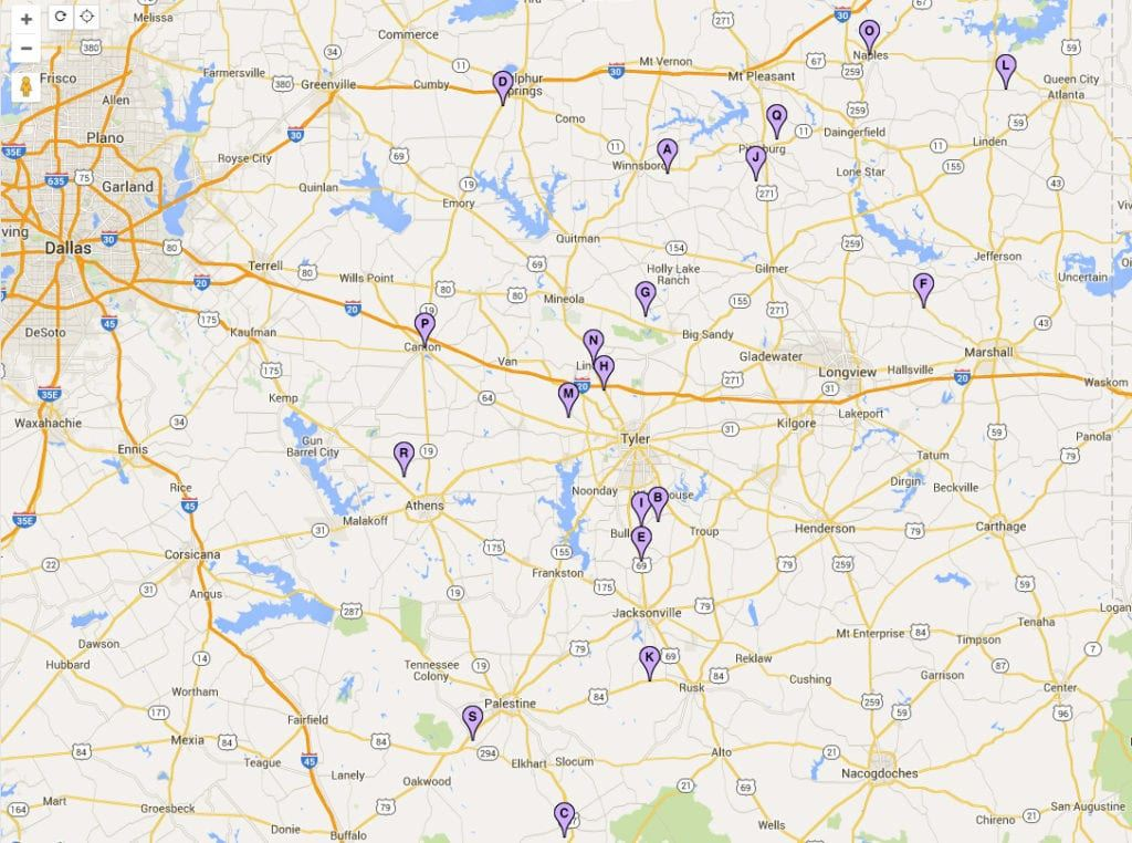 east texas wine trail map