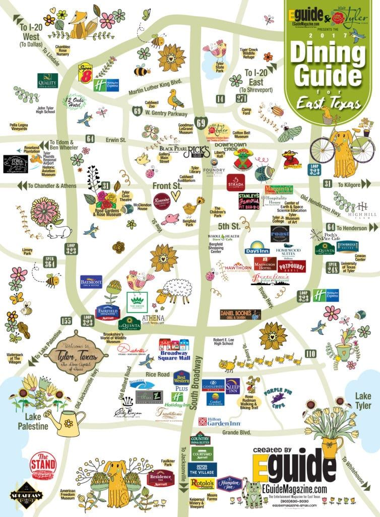 Fun Map for 2017 Dining Guide EGuide Magazine Tyler TX